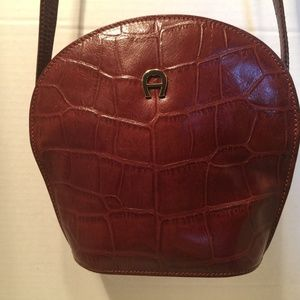 Etienne Aigner Brown Croc Leather Crossbody